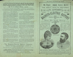 Advert For Dr. Lowder's Magneto-Electric Battery